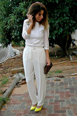 lace thrifted vintage top - high waist thrifted vintage pants