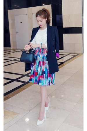 navy MIAMASVIN jacket - white MIAMASVIN skirt - hot pink MIAMASVIN heels