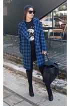 MIAMASVIN boots - black MIAMASVIN dress - blue MIAMASVIN coat