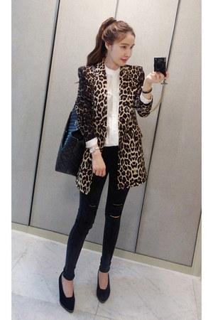 dark gray MIAMASVIN jeans - MIAMASVIN jacket - white MIAMASVIN blouse