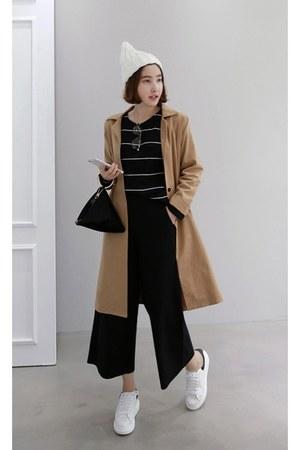brown MIAMASVIN coat - black MIAMASVIN top