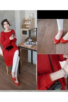 red MIAMASVIN dress - ivory MIAMASVIN leggings - bronze MIAMASVIN bag