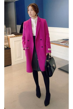 hot pink MIAMASVIN coat - ivory MIAMASVIN blouse - black MIAMASVIN skirt