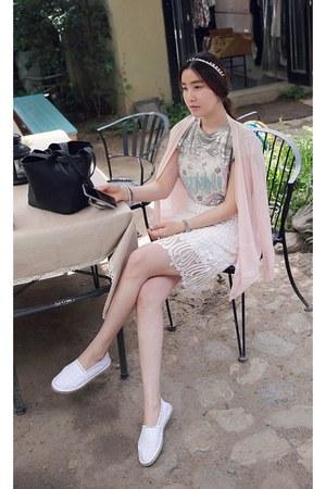 light pink MIAMASVIN cardigan - white MIAMASVIN skirt - silver MIAMASVIN t-shirt