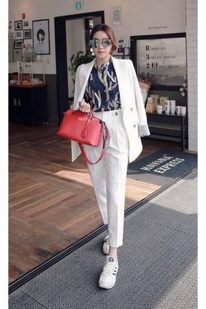 white MIAMASVIN jacket - navy MIAMASVIN blouse - red MIAMASVIN pants