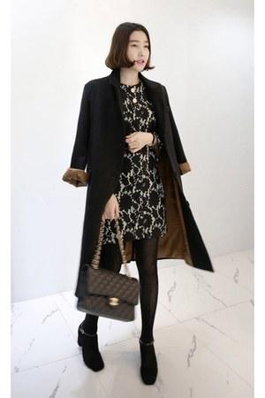 white MIAMASVIN dress - black MIAMASVIN coat