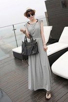 silver gray maxi dress MIAMASVIN dress - eggshell MIAMASVIN hat