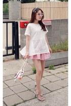 light pink MIAMASVIN shorts - white MIAMASVIN blouse - MIAMASVIN heels