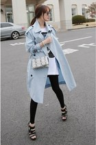 white MIAMASVIN dress - light blue MIAMASVIN coat - MIAMASVIN leggings