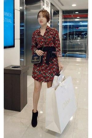 black MIAMASVIN boots - ruby red MIAMASVIN dress - chain strap bag Chanel bag