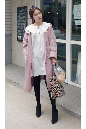 white MIAMASVIN dress - light pink MIAMASVIN cardigan - black MIAMASVIN pumps