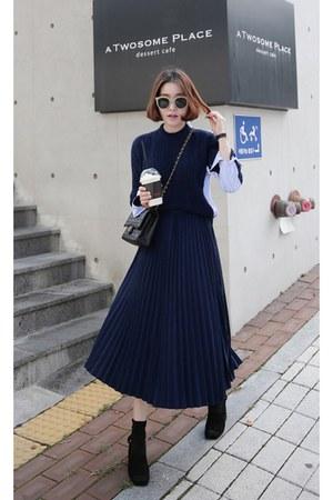 navy navy sweater MIAMASVIN top - black MIAMASVIN skirt