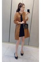 tawny MIAMASVIN coat - black MIAMASVIN dress - MIAMASVIN pumps
