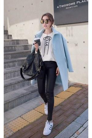 light blue MIAMASVIN coat - black MIAMASVIN pants - white Adidas sneakers