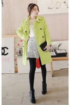 black MIAMASVIN boots - lime green MIAMASVIN coat - MIAMASVIN leggings