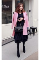 pink MIAMASVIN coat - black MIAMASVIN dress - MIAMASVIN pumps