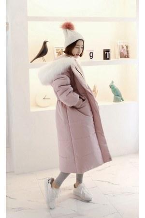 light pink MIAMASVIN coat - white MIAMASVIN sneakers