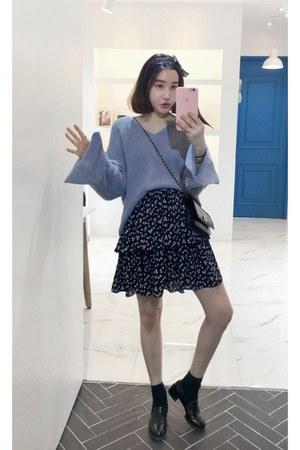 periwinkle MIAMASVIN sweater - black MIAMASVIN skirt
