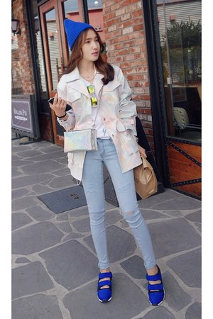 sky blue MIAMASVIN jeans - light pink MIAMASVIN jacket - white MIAMASVIN shirt