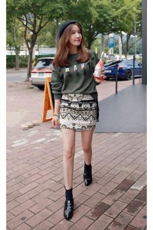 army green MIAMASVIN sweater - off white MIAMASVIN skirt