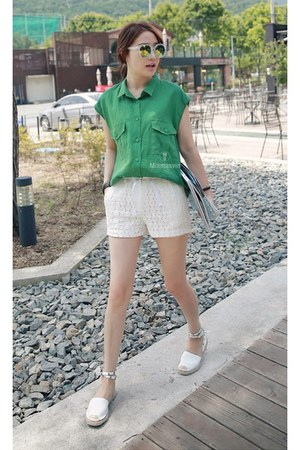 green MIAMASVIN blouse - white lace shorts MIAMASVIN shorts