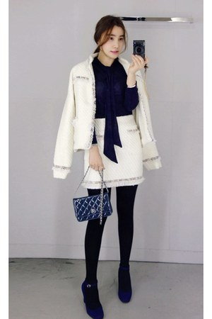 ivory MIAMASVIN jacket - black MIAMASVIN skirt - navy MIAMASVIN pumps