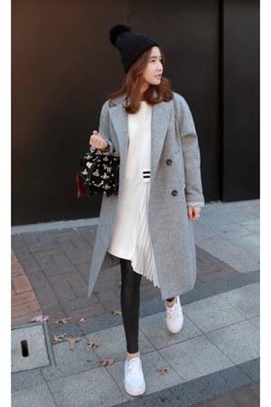 black knit bobble hat hat - white dress - heather gray coat - black leggings