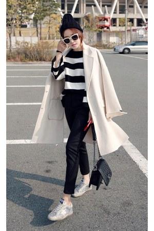 eggshell MIAMASVIN coat - black MIAMASVIN sweater - silver MIAMASVIN sneakers