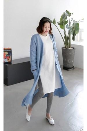 white MIAMASVIN dress - sky blue MIAMASVIN cardigan