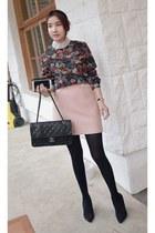 black MIAMASVIN blouse - light pink MIAMASVIN skirt - MIAMASVIN pumps