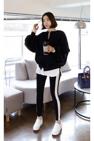 black MIAMASVIN cardigan - white MIAMASVIN sneakers