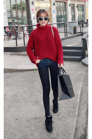 black MIAMASVIN boots - navy MIAMASVIN jeans - brick red MIAMASVIN sweater