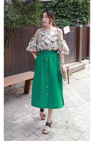 ivory MIAMASVIN top - green MIAMASVIN skirt