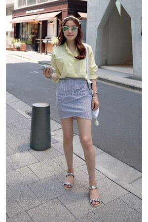 cream MIAMASVIN shirt - sky blue MIAMASVIN skirt - silver MIAMASVIN flats