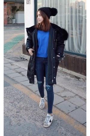 black MIAMASVIN coat - blue MIAMASVIN jeans