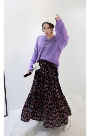 violet MIAMASVIN sweater - black MIAMASVIN skirt