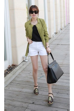 olive green MIAMASVIN jacket - MIAMASVIN bag - white MIAMASVIN shorts