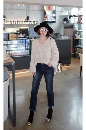 black MIAMASVIN boots - beige MIAMASVIN sweater