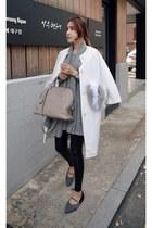 white MIAMASVIN coat - heather gray MIAMASVIN dress - black MIAMASVIN leggings