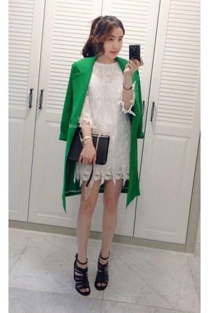 white MIAMASVIN dress - green pencil cut coat MIAMASVIN coat
