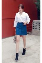 black MIAMASVIN boots - blue MIAMASVIN skirt - white MIAMASVIN top