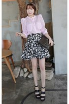 black MIAMASVIN sandals - heather gray Chanel bag - white MIAMASVIN skirt
