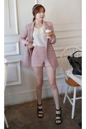 pink MIAMASVIN jacket - MIAMASVIN shorts - ivory MIAMASVIN blouse