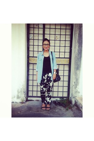 blue Zara blouse - black Zara pants