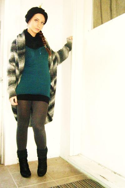 black boots - gray leggings - blue dress