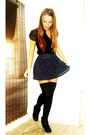 Black-blowfish-boots-black-american-apparel-stockings-blue-forever-21-skirt-