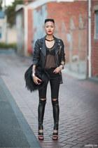 black jacket - black Backstage bag - black SAXONY pants - black Tom Gunn heels