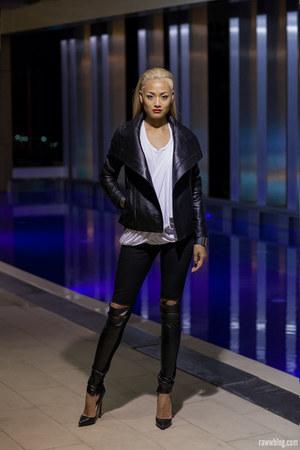 black leather jacket SAXONY jacket - white scarf tee SAXONY t-shirt