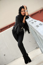 black gripp jacket - black Jeffrey Campbell boots - black sass & bide jeans