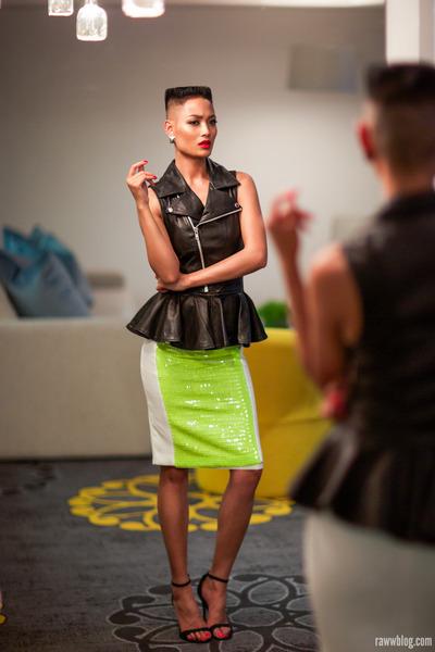 black stolen girlfriends club vest - chartreuse Mossman skirt